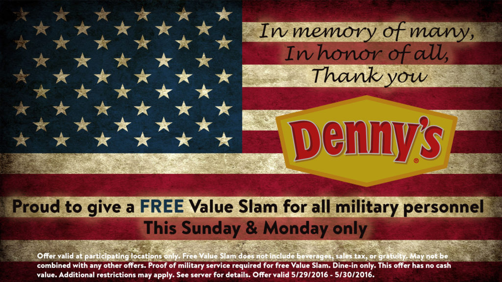 denny's memorial military day promo free meal