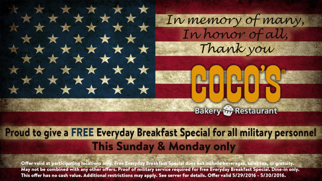 coco's memorial military day special free meal